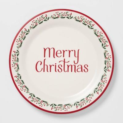 11  Melamine Merry Christmas Dinner Plate White - Threshold™