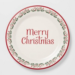 "11"" Melamine Merry Christmas Dinner Plate White - Threshold™"