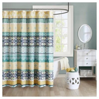 Geometric Mosaic Shower Curtain Green