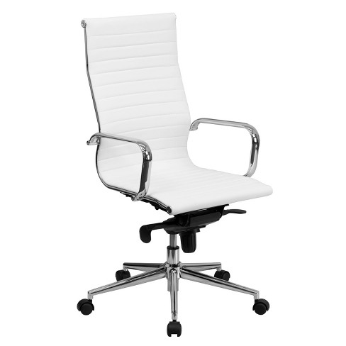 High Back Ribbed Leather Executive