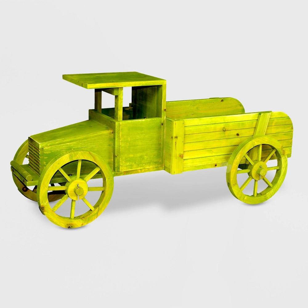 Image of 18 Wooden Wheelbarrow Barrel Novelty Planter Green - Gardenised