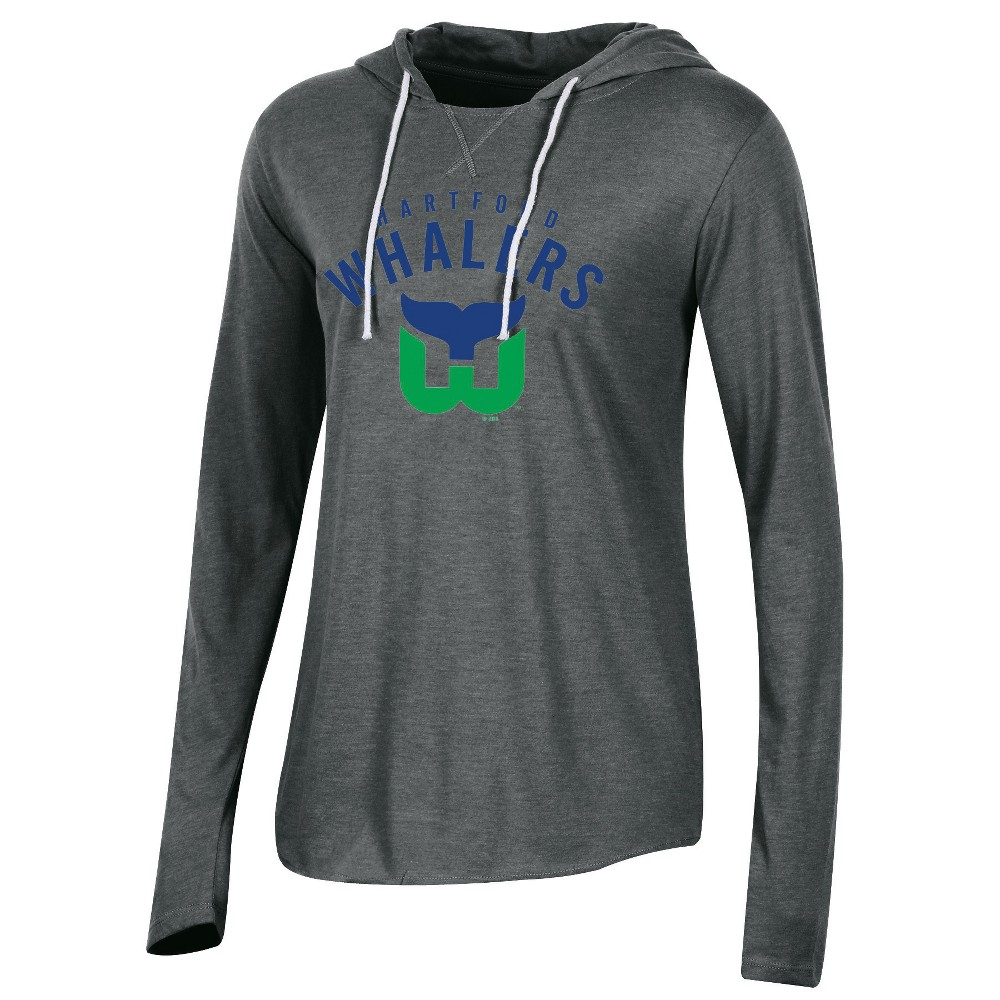 Hartford Whalers Women's Classic Gray Vintage Lightweight Hoodie M, Multicolored
