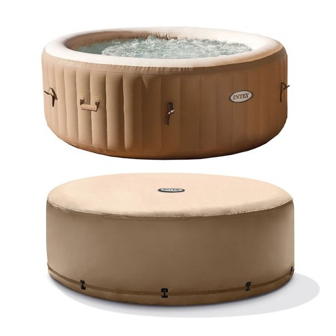 Intex Purespa 4-Person Tan Inflatable Bubble Jet Spa Portable Hot Tub With Cover - image 1 of 6