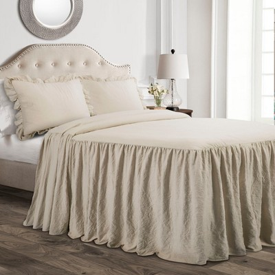 Queen 3pc Ruffle Skirt Bedspread Set Neutral - Lush Décor