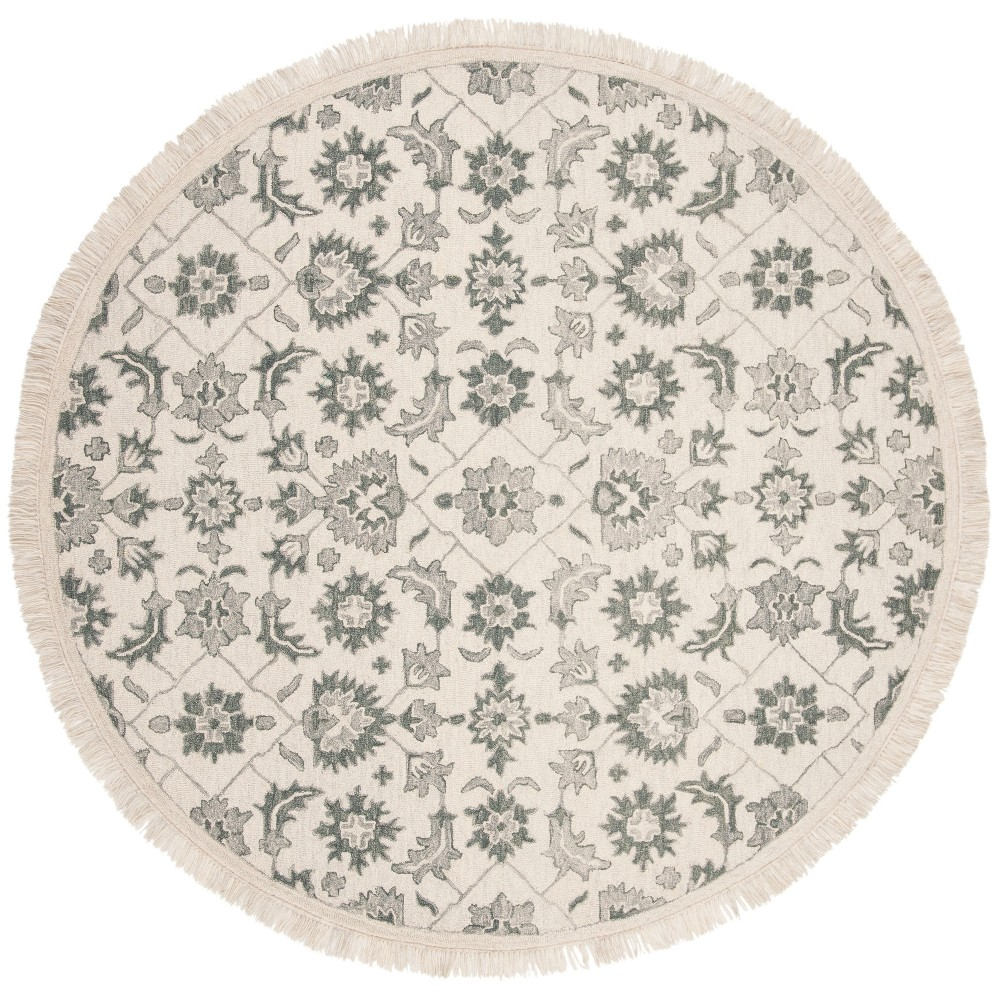 7' Shapes Tufted Round Area Rug Green/Gray - Safavieh, Gray Green