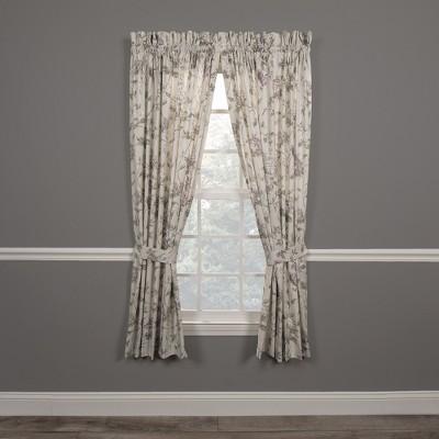 "Ellis Curtain Abigail High Quality Design Printed Room Darkening 2-Piece Window Rod Pocket Panel Pairs With 2 Tie Backs - 90""x84"""