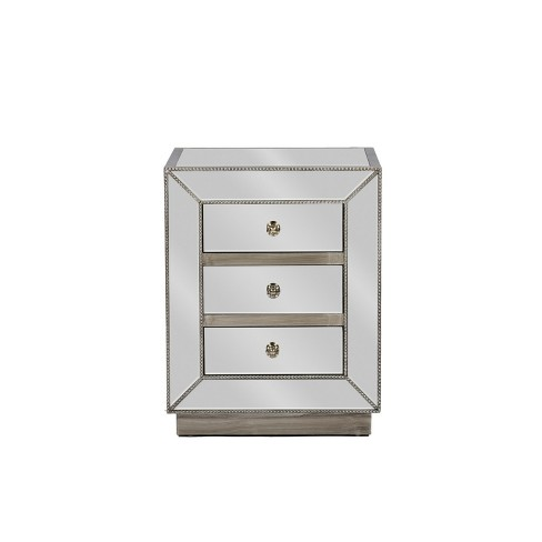Currin Contemporary Mirror 3 Drawer Nightstand Silver - Baxton Studio - image 1 of 4