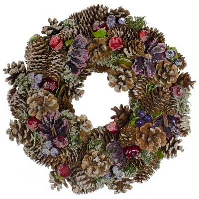Northlight Sugared Purple and Red Pine Cone Artificial Christmas Wreath - 13-Inch, Unlit