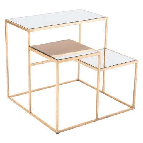 """20"""" Luxe Mirror and Steel Square End Table - Gold - ZM Home - image 1 of 1"""