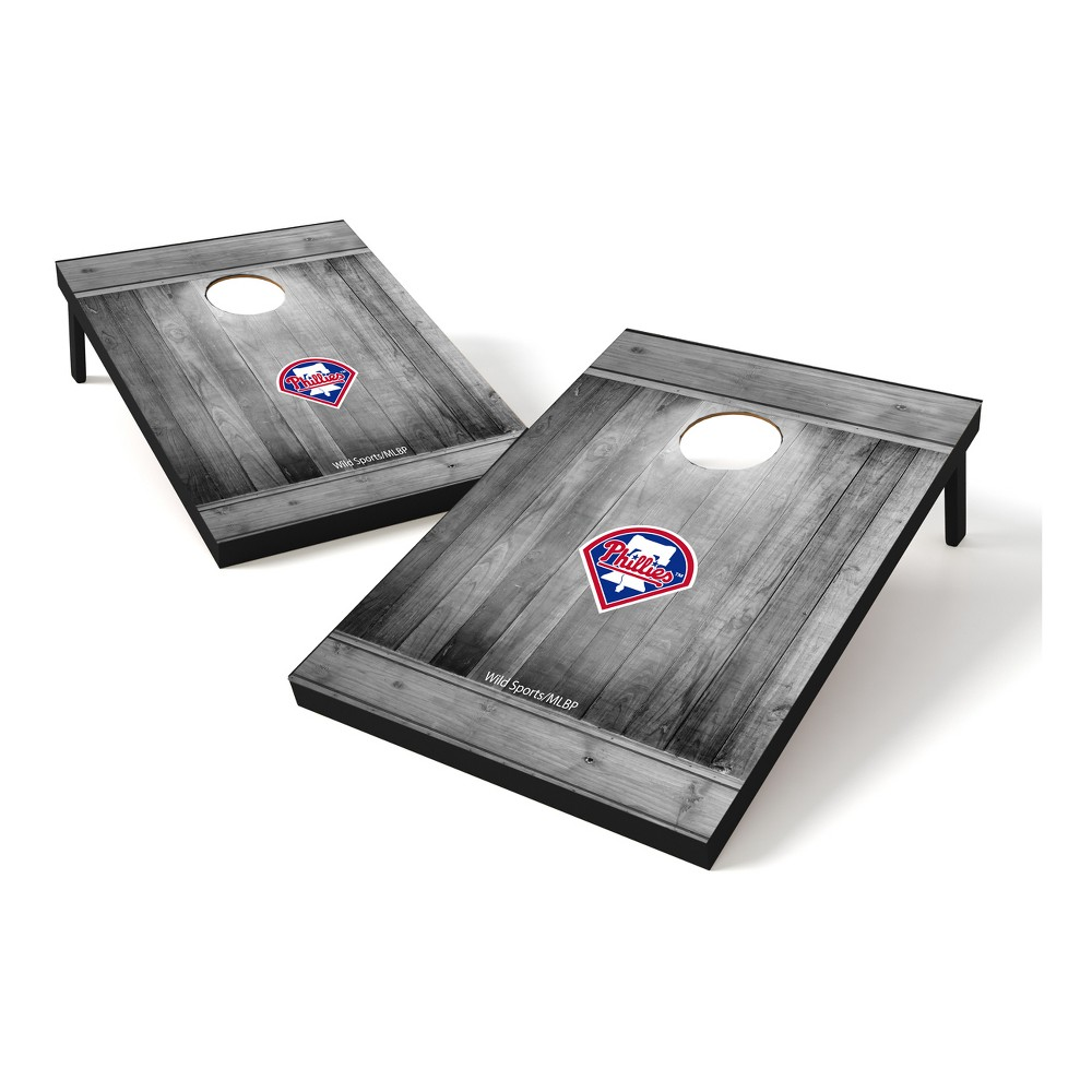 Philadelphia Phillies Wild Sports 2x3 Rustic Wooden Plaque Gray Wash Tailgate Toss