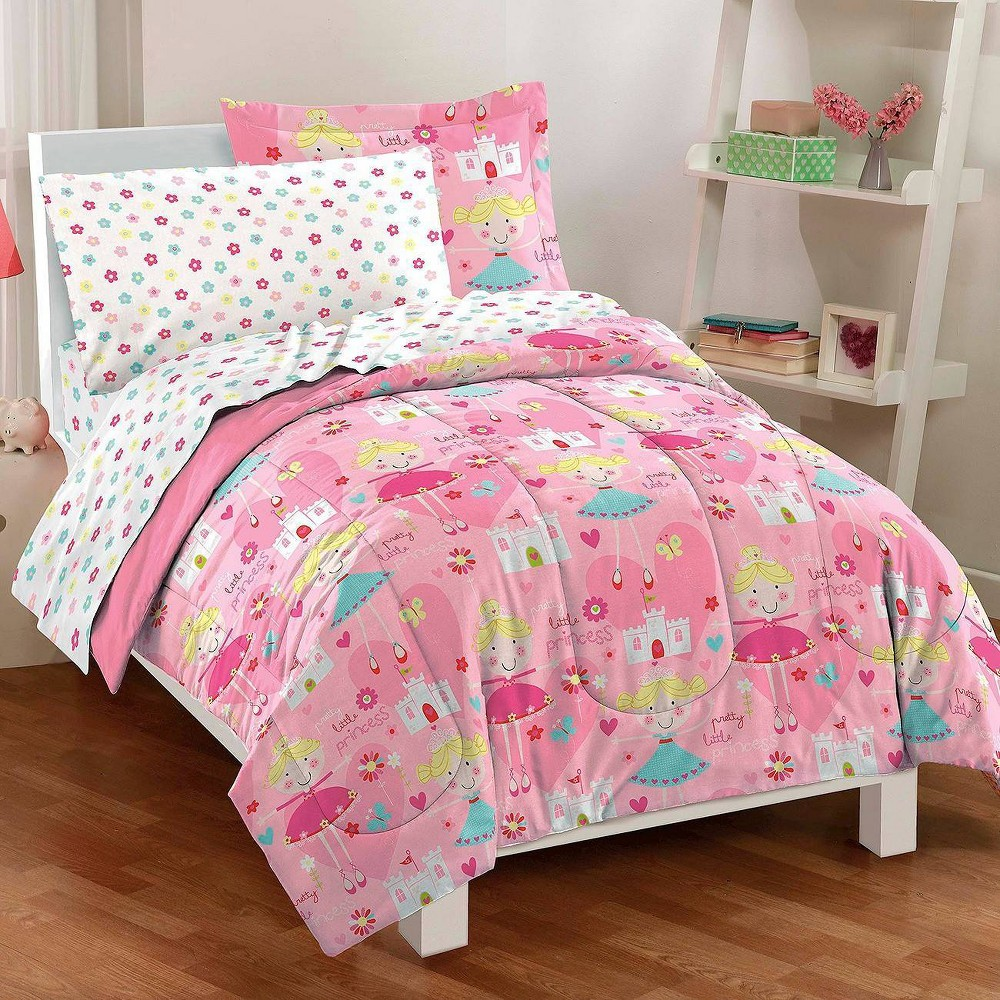 Image of Dream Factory Pretty Princess Mini Bed in a Bag - Pink (Twin)