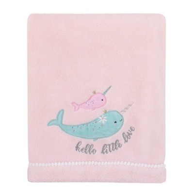 NoJo Under The Sea Whimsy Narwhals Super Soft Appliqued Baby Blanket - Pink and Blue