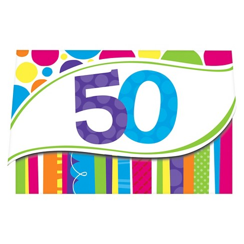 8ct Bright And Bold 50th Birthday Invitations Target