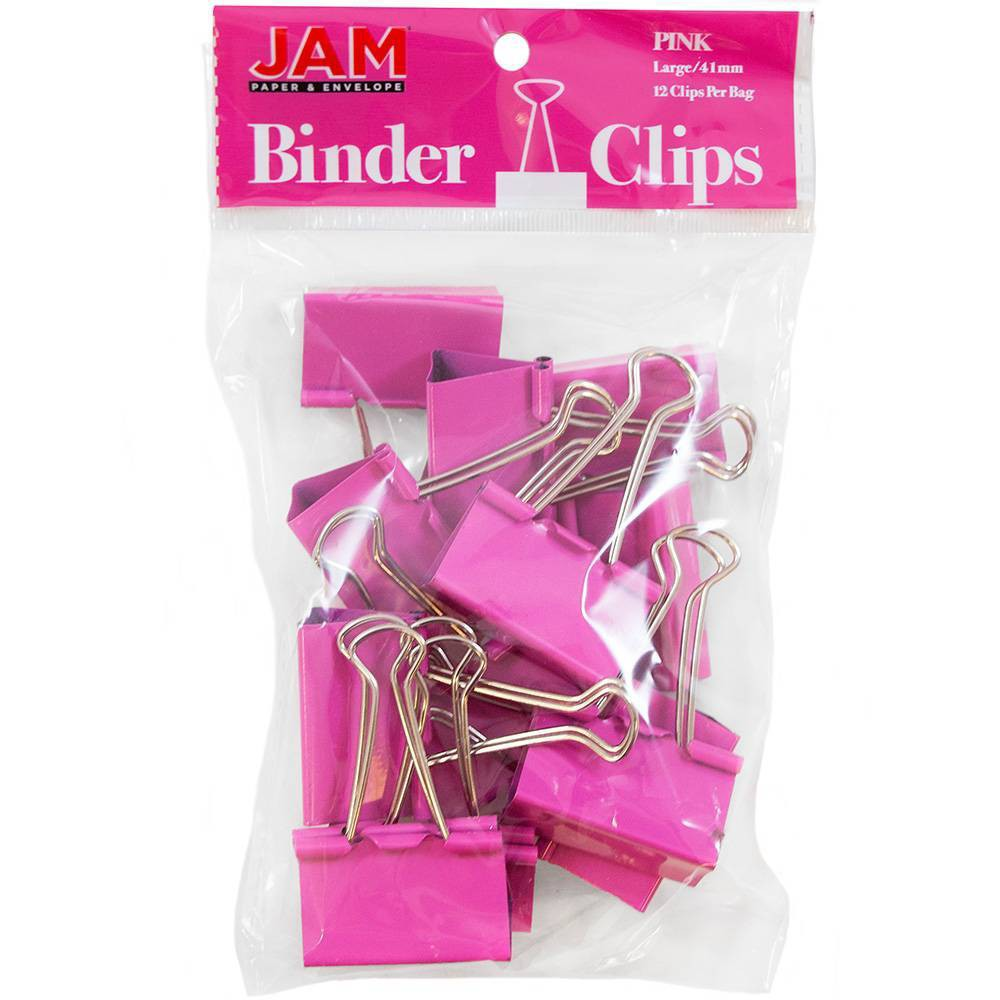 Jam Paper 1 1 2 12pk Colorful Binder Clips Large Pink