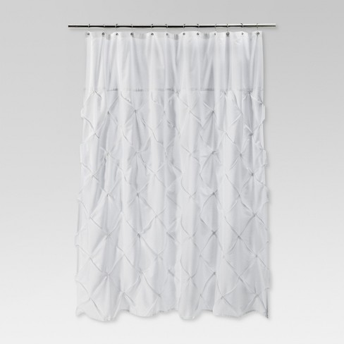 Pinch Pleat Shower Curtain Snow White Threshold