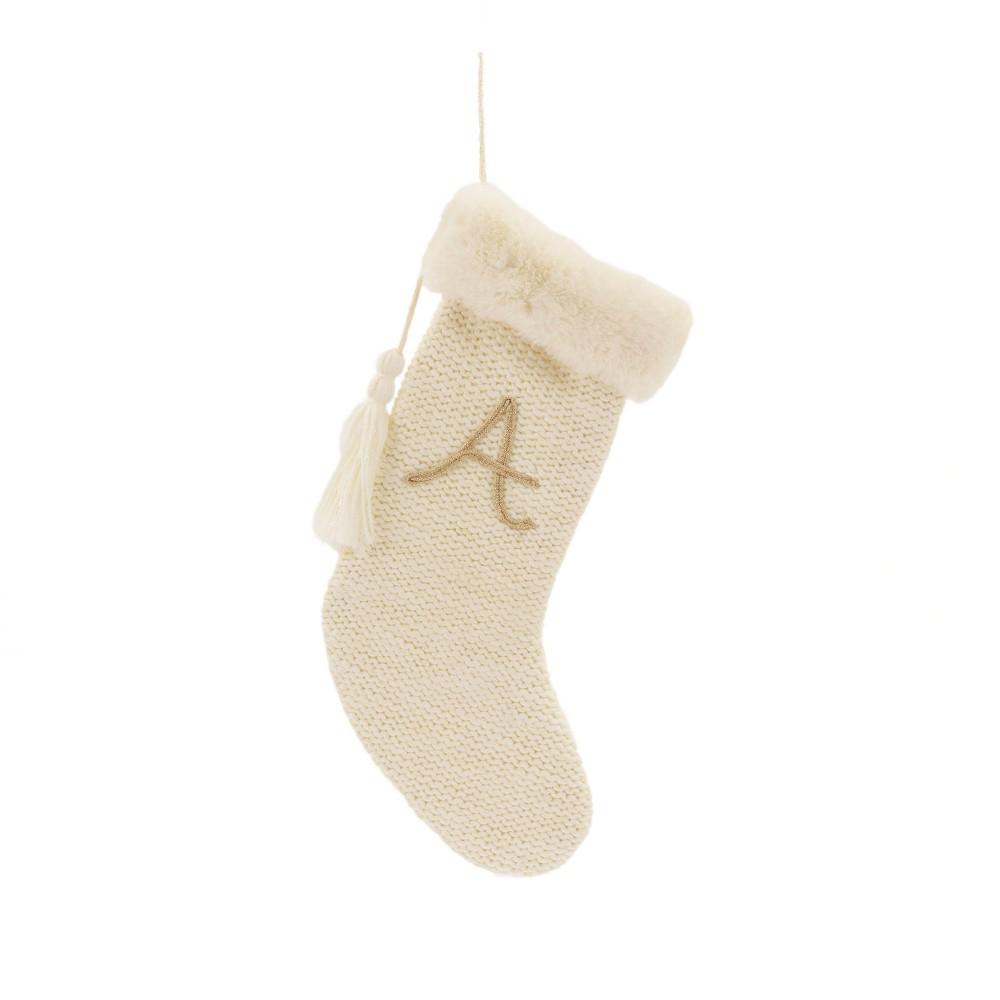 20 Knit Monogram Christmas Stocking Cream A - Wondershop, Beige