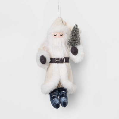 Fabric Santa White With Navy Accents Christmas Ornament   Wondershop™ by Shop This Collection