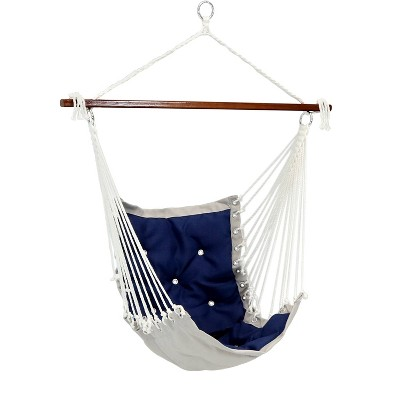 Sunnydaze Large Tufted Victorian Hammock Chair Swing for Backyard and Patio - 300 lb Weight Capacity - Navy Blue