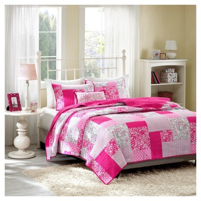 Katie Plaid Polka Dot Quilted Coverlet Set - Pink
