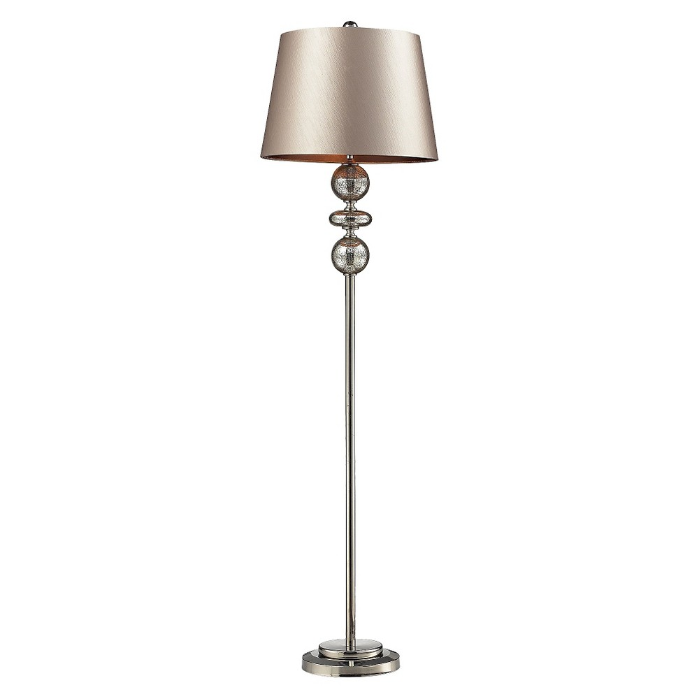 Lazy Susan 68 in. Antique Mercury Glass, Polished Nickel Floor Lamp (Lamp Only), Silver
