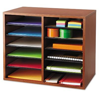Safco Fiberboard Literature Sorter 12 Sections 19 5/8 x 11 7/8 x 16 1/8 Cherry 9420CY