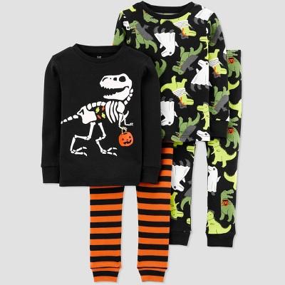 Toddler Boys' 4pc Dino Halloween Snug Fit Pajama Set - Just One You® made by carter's Black/Orange