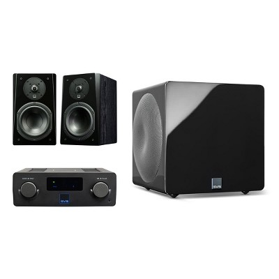 SVS Prime Wireless SoundBase and Prime Bookshelf 2.1 Speaker Package with 3000 Micro Subwoofer (Premium Black Ash/Piano Black)