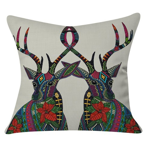 "Poinsettia Deer Throw Pillow (20""x20"") - Deny Designs® - image 1 of 2"