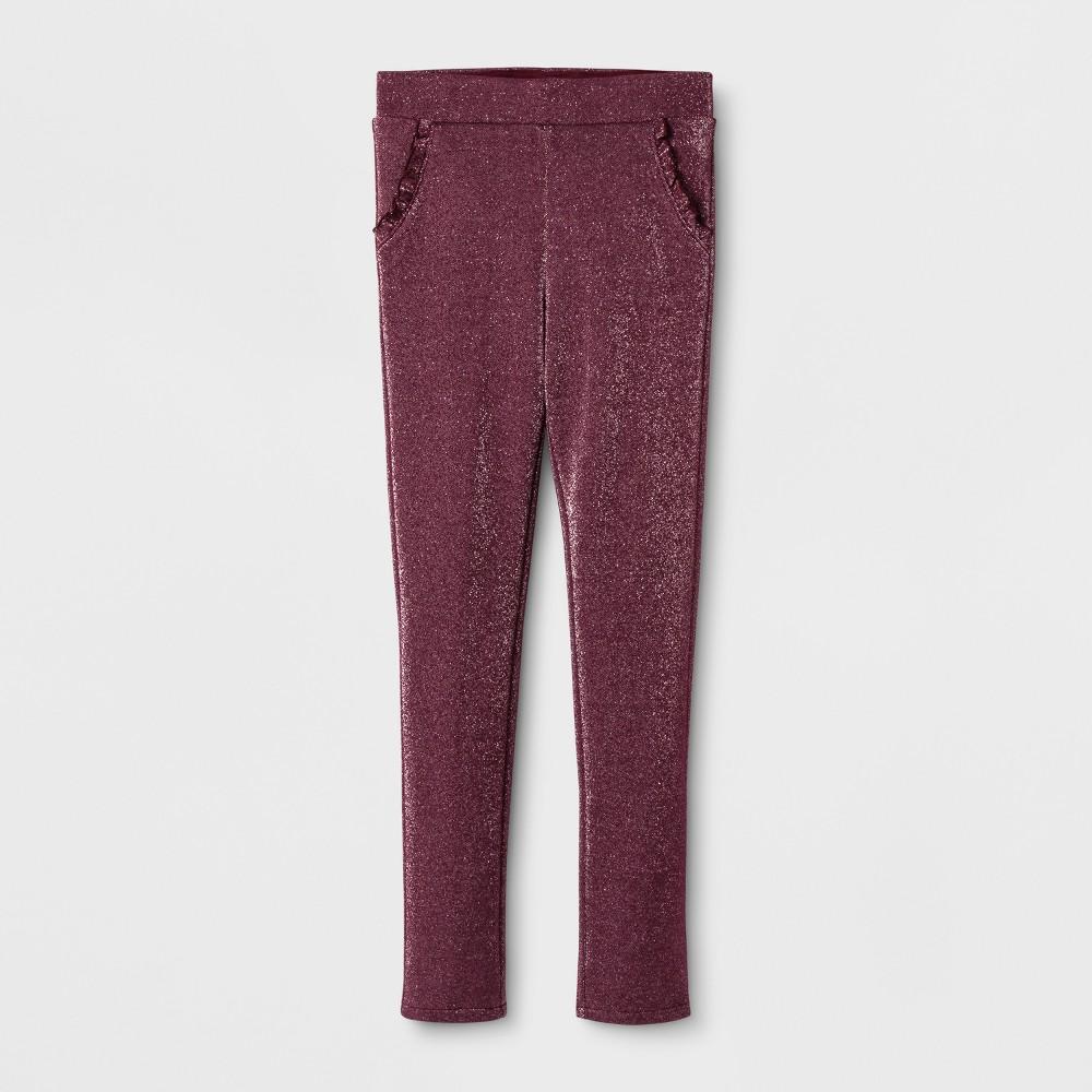 Girls' Ruffle Pocket Fashion Pants - Cat & Jack Burgundy (Red) S