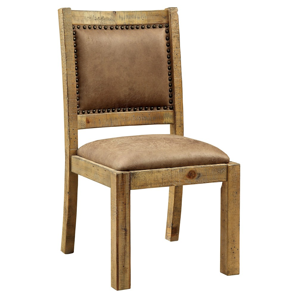 Sun & Pine Shelia Padded Leatherette Side Dining Chair Rustic Pine (Set of 2)
