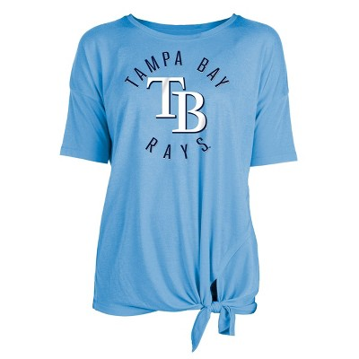 MLB Tampa Bay Rays Women's Poly Rayon Front Knot T-Shirt