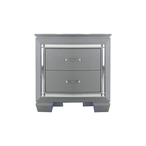 Mirror Accented Wooden Nightstand With 2 Drawer Silver Gray - Benzara - image 1 of 4