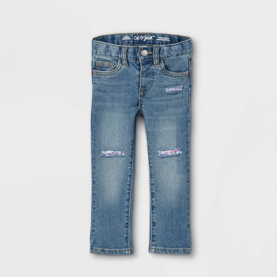 Baby Girls' Sequin Patch Skinny Jeans - Cat & Jack™ Light Blue