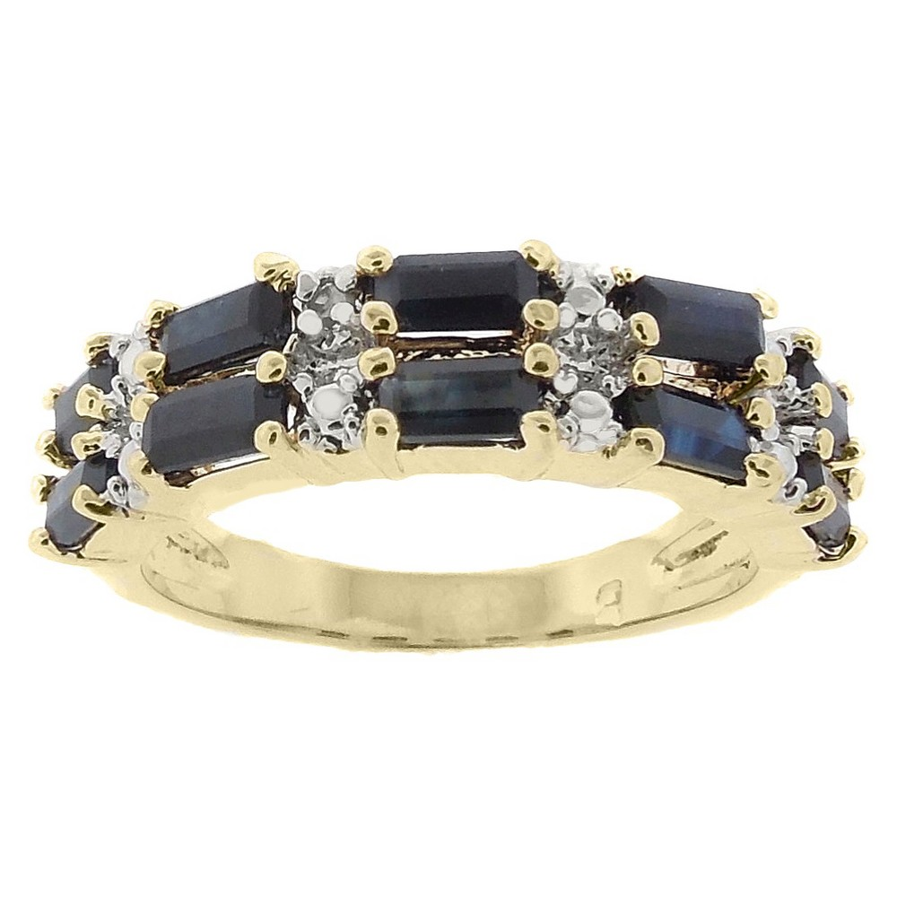 Image of 0.01 CT.T.W. Diamond Accent and Emerald Cut Sapphire 2-row Prong Set Ring 18K Gold plated (Size 7), Girl's, Navy