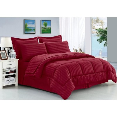 Elegant Comfort Luxury Soft and Coziest 8-PIECE Bed-in-a-Bag Dobby Stripe Pattern Comforter Set - Silky Soft Complete Set Includes Bed Sheet Set.