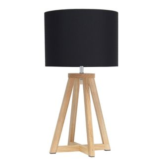 Wood Interlocked Triangular Table Lamp with Fabric Shade Natural - Simple Designs