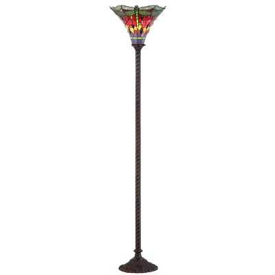 "71"" Dragonfly Tiffany Style Torchiere Floor Lamp (Includes Energy Efficient Light Bulb) - JONATHAN Y"