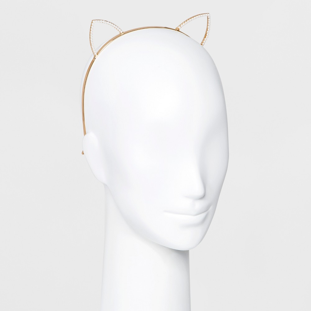 Metal Cat Ear Head Band with Small Simulated Pearls - Gold