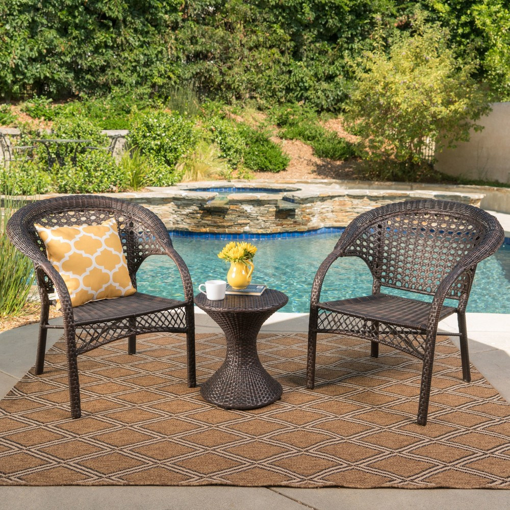 Bradford 3pc Wicker Chat Set - Multibrown - Christopher Knight Home, Brown