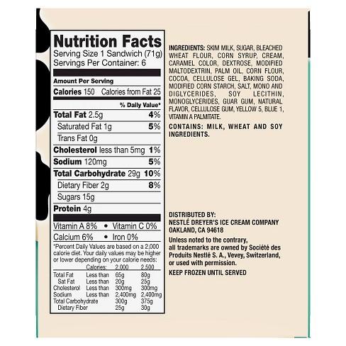 skinny cow ice cream nutrition