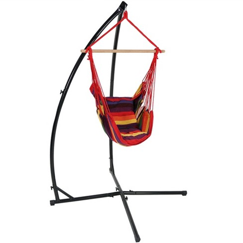Hammock Chair Swing and X-Stand - Sunset - Sunnydaze Decor - image 1 of 4