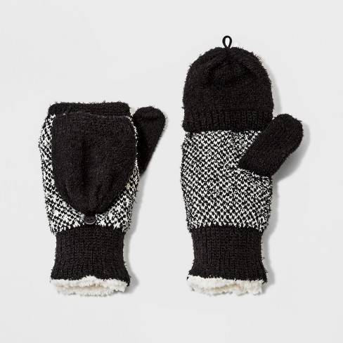 Isotoner Women's Recycled Yarn Fleece Lined Flip-Top Patterned Mitten -  Black