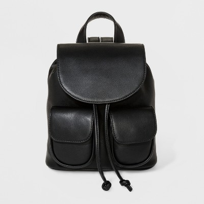 Mini Drawstring Flap Backpack - Wild Fable™ Black