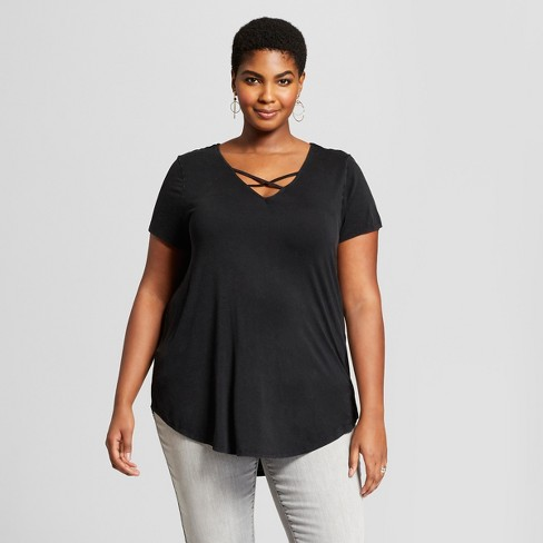 Women's Plus Size Short Sleeve Cross Front Drapey T-shirt - Ava & Viv™ - image 1 of 2
