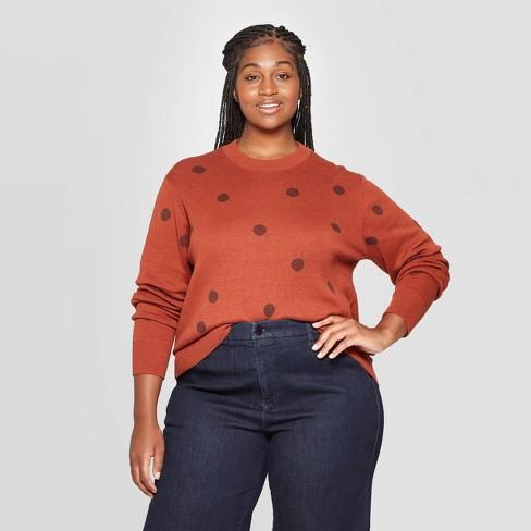 Women's Plus Size Dots Long Sleeve Crewneck Pullover Sweater - Ava & Viv™ - image 1 of 2