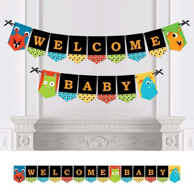 Big Dot of Happiness Monster Bash - Little Monster Baby Shower Bunting Banner - Party Decorations - Welcome Baby