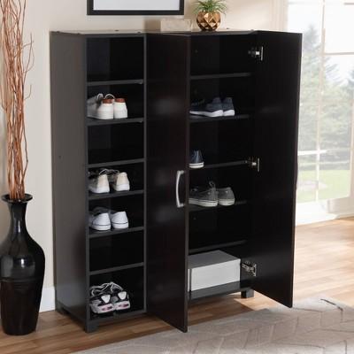 Marine Finished 2 Door Wood Entryway Shoe Storage Cabinet With Open Shelves  Brown   Baxton Studio : Target