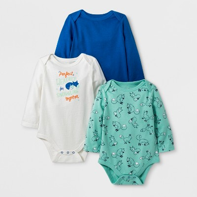 Baby Boys' 3pk Long Sleeve Bodysuits - Cat & Jack™ Cream 0-3M