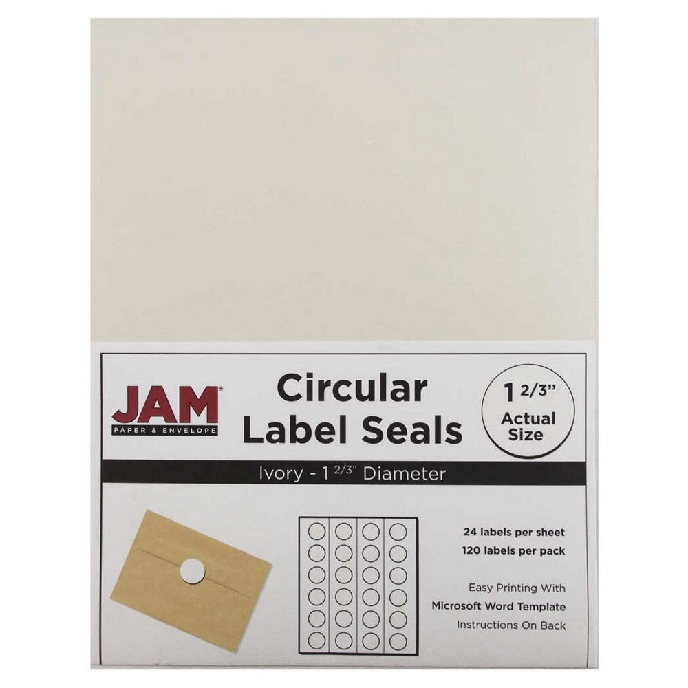 Jam Paper Circle Sticker Seals 1 2/3 120ct - Ivory Jam Paper Round Circle Label Sticker Seals measure 1 2/3 inches in diameter and are sold on sheets of 24 labels. Each pack contains 5 sheets for a total of 120 labels per pack! These labels feature a light, soft, and inviting baby blue color that will give a peaceful and calm look to your mail. These labels are great for reinforcing envelopes, creating small price tags for yard sales, marking mail or items with initials, and more! Compatible with most printers, these labels can be customized in your own office or home. Additionally, they are easy to write on with most kinds of pens and markers. Try these round labels for your home or office needs. Color: Ivory. Age Group: Adult.