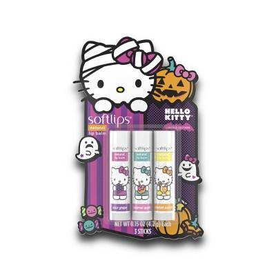 Softlips Halloween Hello Kitty Natural Lip Balm - 3pk